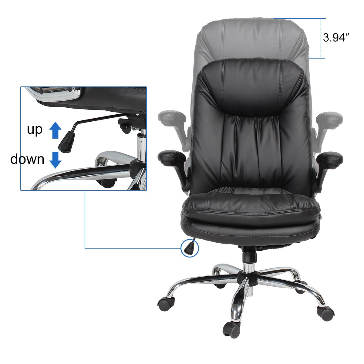 YAMASORO Ergonomic Home Office Chair with Flip-Up Arms and Comfy Headrest PU Leather High-Back Computer Desk Chair Big and Tall Capacity 330lbs Black by YAMASORO (Image #10)