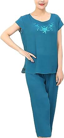 Pijama Mujer Tops+ 3/4 Pantalones Dos Piezas Tallas Grandes Elegante Manga Corta Cuello Redondo Impresión Floral Sencillos Diario Anchas Casual Verano Pijamas: Amazon.es: Ropa y accesorios
