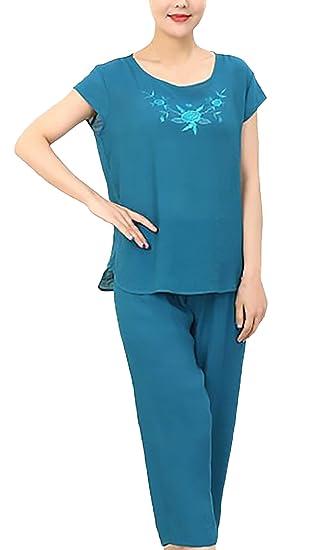 Pijamas Mujer Tops+ 3/4 Pantalones Dos Piezas Tallas Grandes Elegante Niñas Ropa Manga Corta