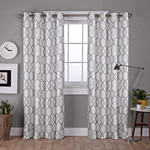 Exclusive Home Curtains Kochi Linen Blend Window Curtain Panel Pair with Grommet Top, 54x96, Dove Grey, 2 Piece