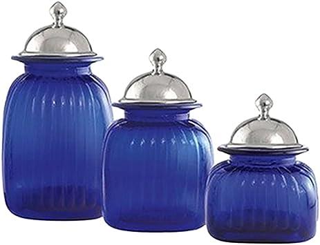 Amazon Com 3 Piece Barrington Canister Set Color Cobalt Blue Kitchen Storage And Organization Product Sets