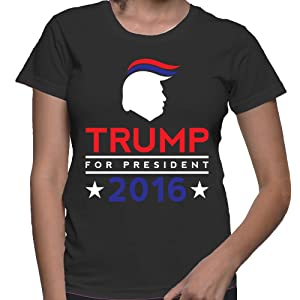 WOMENS Donald Trump For President 2016 T-shirt (XL, BLACK)