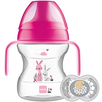 MAM Learn to Drink Cup and Soother 6 Months Pink 190 ml