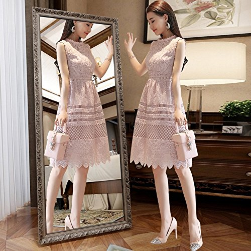 Version MiGMV fminins corenne Dentelle L Manches l'usure d't Robe Longue Pink sans de Mince Femme Une Mince 2018 l't Robe Jupe Nouvelle wzXvrw
