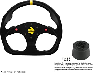 MOMO MOD.30 Buttons 320mm (12.6 Inches) Suede Steering Wheel w/Brushed Black Anodized Spokes and Crowder's Hub Adapter for Alfa Romeo Spider Duetto Part # R1960/32SHB + 0512