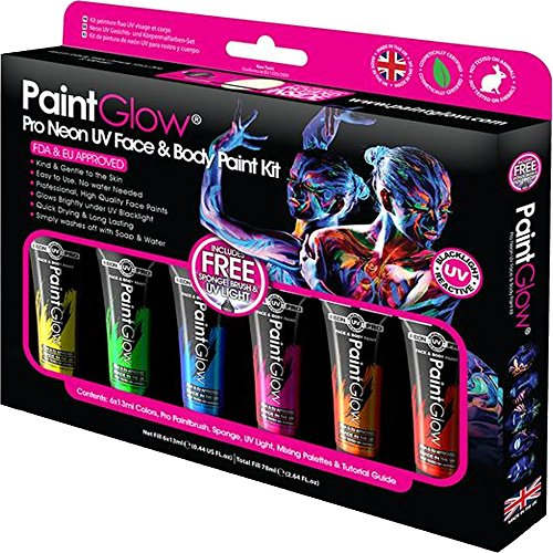 Paint Glow Pro Neon UV Face & Body Kit Paint Glow Neon UV Torch Fluroescent Festival -