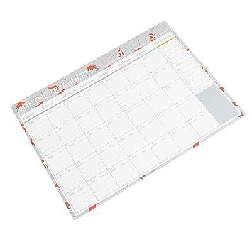 NUOLUX Planificador mensual Calendario Calendario Organizador Agenda de agenda Organizador portátil con borde decorativo (Fox)
