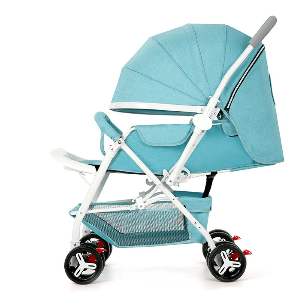 QXMEI Stroller Light Portable Can Sit Fold Easily Two-Way Shock Absorber Umbrella Baby Stroller,A-Blue