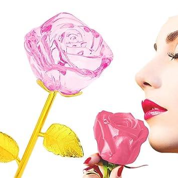 24 K chapado en oro Flor color de rosa Tallo largo Cumpleaños artificial San Valentín Regalo