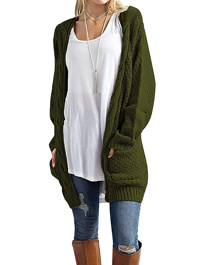 GRECERELLE Women's Long Sleeve Open Front Chunky Warm Cardigans Sweater Blouses with Pockets Dark Green-M