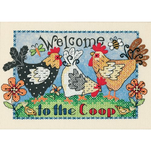 Dimensions Stamped Cross Stitch Kit, Welcome to The Coop, 7