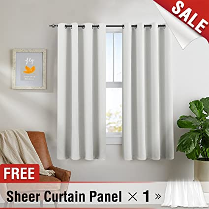 White Blackout Curtains Bedroom 63 Inches Long Triple Weave Room Darkening  Window Curtains Living Room Window