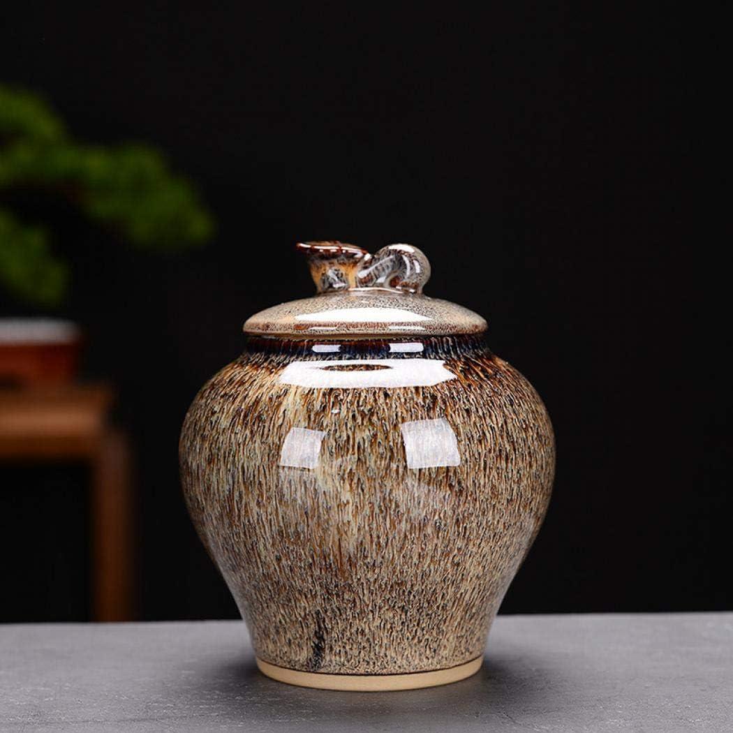 Ceramic Food Storage Jar Canister Chinese style Design Food Canisters with Lid, Tea Coffee Spice Nuts Snacks Seasonings Storage Jar (1:10.6x12.4cm)