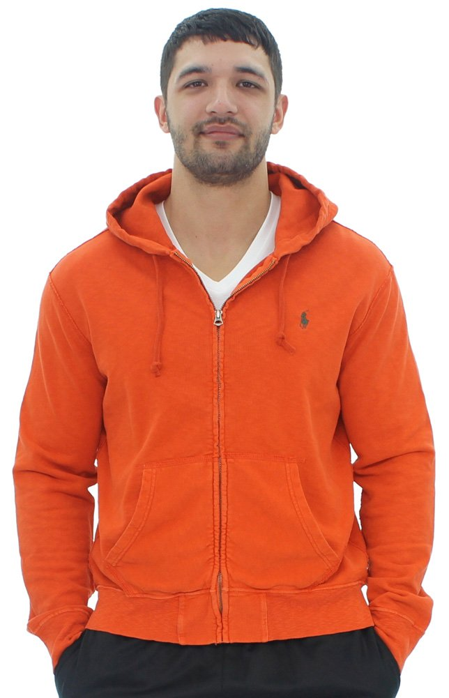 Polo Ralph Lauren Men's Lightweight Vintage French Terry Hoodie (Large, Collage Orange)