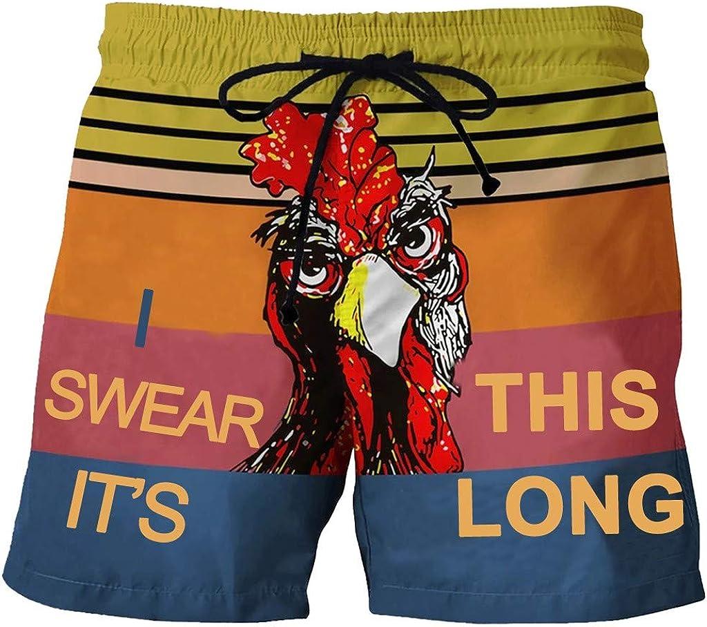 Holzkary Mens Beachwear Summer Holiday Drawstring Casual Cock Printed Beach Workout Shorts Pants