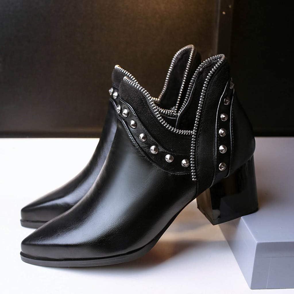 Longzjhd Bottes Courtes Pointue Bottes Dames en Cuir /Épais Femmes Bottines Street Cool Femme /à Talon Correct Talon Gros Haut Bas Couleur Unie Lacet Bottes Thirsty Bottines /épaisses /à Clous Boots