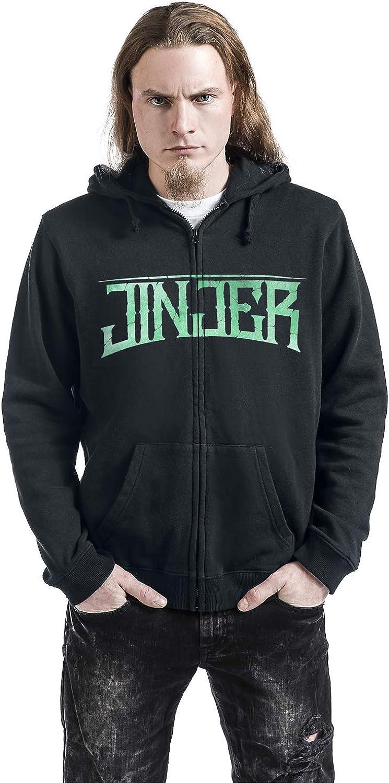 Regular//Coupe Standard Jinjer Butterfly Skull Homme Sweat-Shirt zipp/é /à Capuche Noir