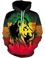 Men's Hooded Sweatshirt, Spring and Autumn Color Lion 3D Digital Print Sweater