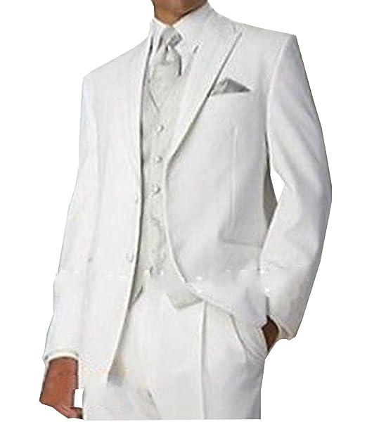 Amazon.com: loveetoo 3-Pieces White novio tuxedos Formal ...