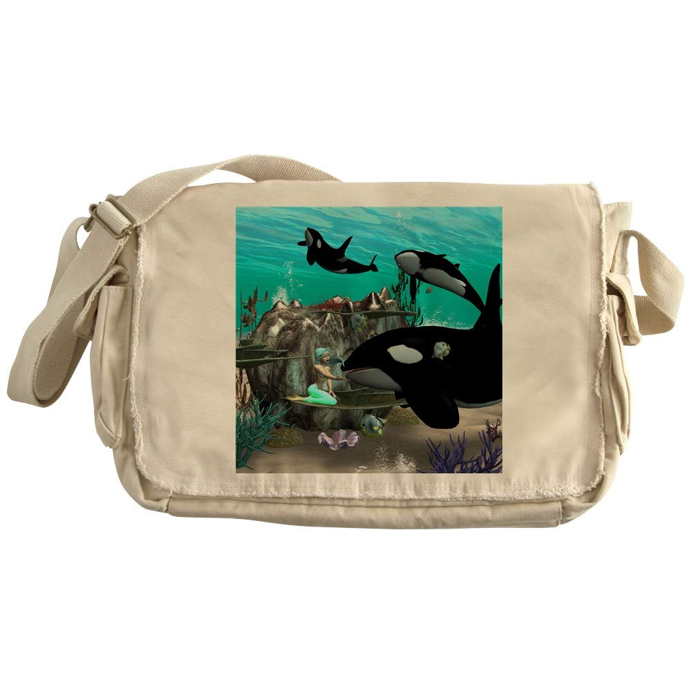 Canvas Courier Bag CafePress Mermaid With Orca Unique Messenger Bag