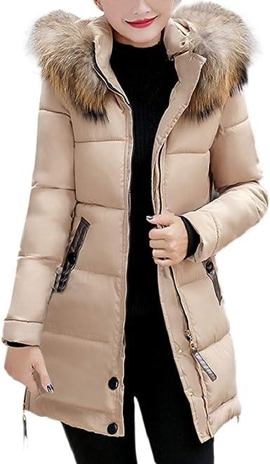 Manteau Femme Chaud Parka Hiver Fourrure avec Capuche Slim Rembourré Long Doudoune Blouson LONUPAZZ