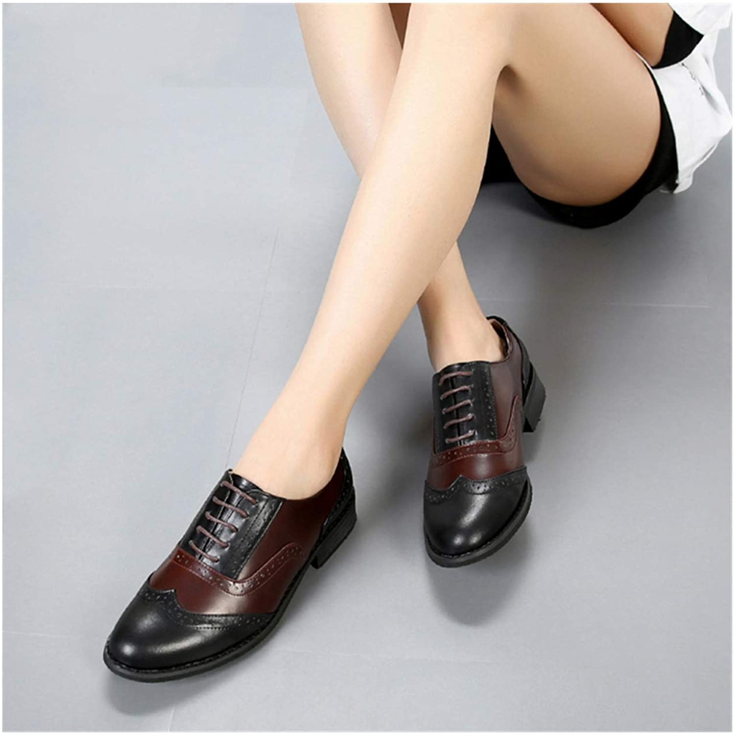 Women Flats Oxford Shoes Woman Genuine Leather Sneakers Ladies Vintage Lace Up Casual Shoes Oxfords Shoes for Women