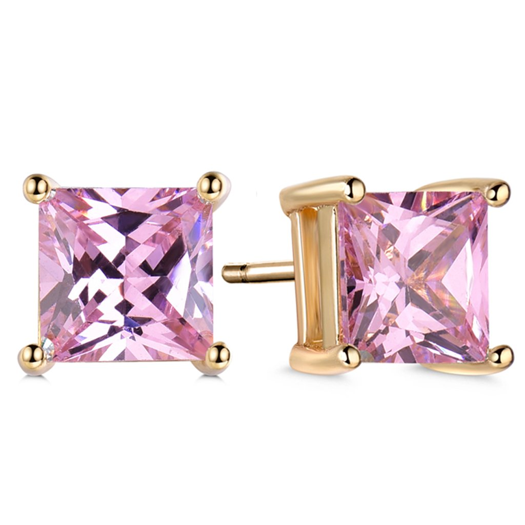 GULICX Silver Tone 7mm Square CZ Party Pierced Earrings Studs Purple Unisex Gelei Jewelry Co. Ltd. E012b