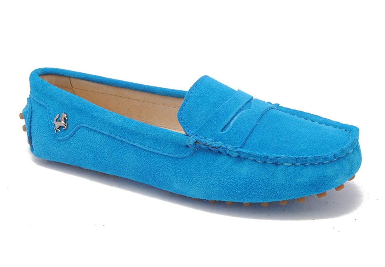Qiusa Mädchen Damen Casual Türkis Wildleder Wildleder Wildleder Driving Outdoor Stiefelschuhe Loafers Mokassins UK 7 (Farbe   - Größe   -) 822990