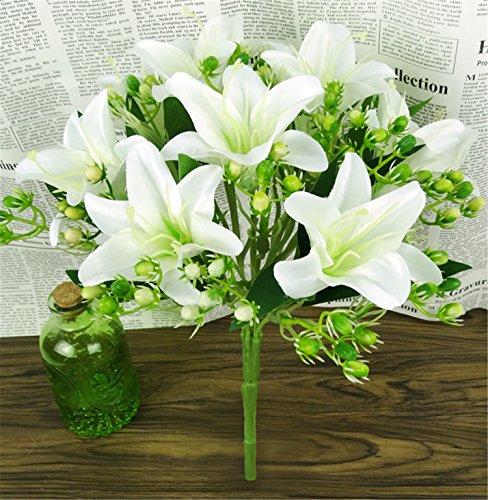 Efivs Arts Artificial Flowers 9 Heads Natural Silk Artificial Lillies Flowers for Wedding Bouquets Home Decor Party Graves Arrangement, (WHITE)