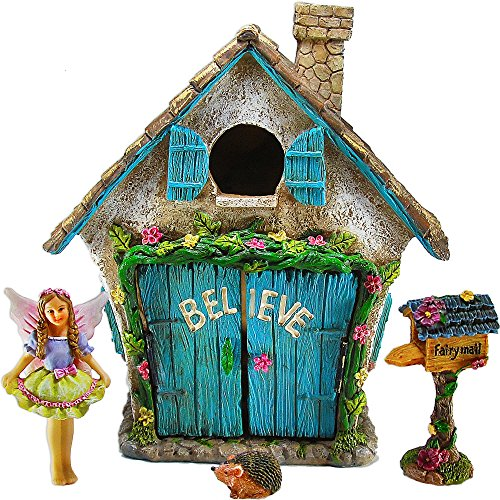 Fairy Garden Believe House Miniature Set of 4 pcs, Premium Quality Hand Painted Figurines & Accessories, Kit For Outdoor or Indoor Decor, By Mood Lab