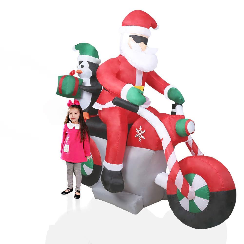 CCLIFE LED Schneemann weihnachtsmann aufblasbar beleuchtet 120/180/240 cm Weihnachtsfigur Nikolaus Wasserdicht groß,Fröhliche Weihnachten!, Farbe:Rot004 Fröhliche Weihnachten!