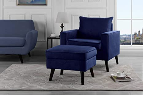 Mid Century Brush Microfiber Modern Living Room Large Accent Chair With Footrest Storage Ottoman Navy