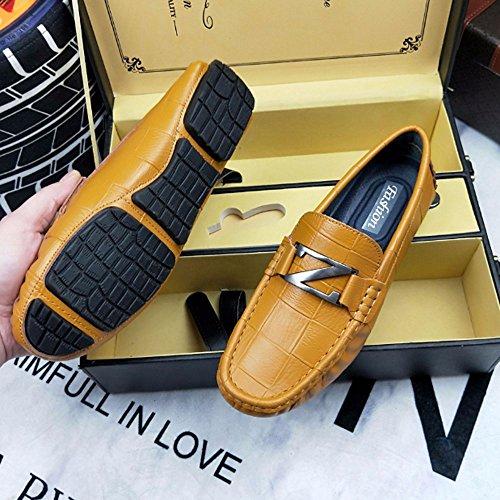 de de Color tendencia zapatos HAOYUXIANG Tamaño ocio Zapatos zapatos de Marrón suave de Marrón guisantes de zapatos cuero lisos fondo Seasons 39 inglesa de masculinos Four confort wfwpOqH