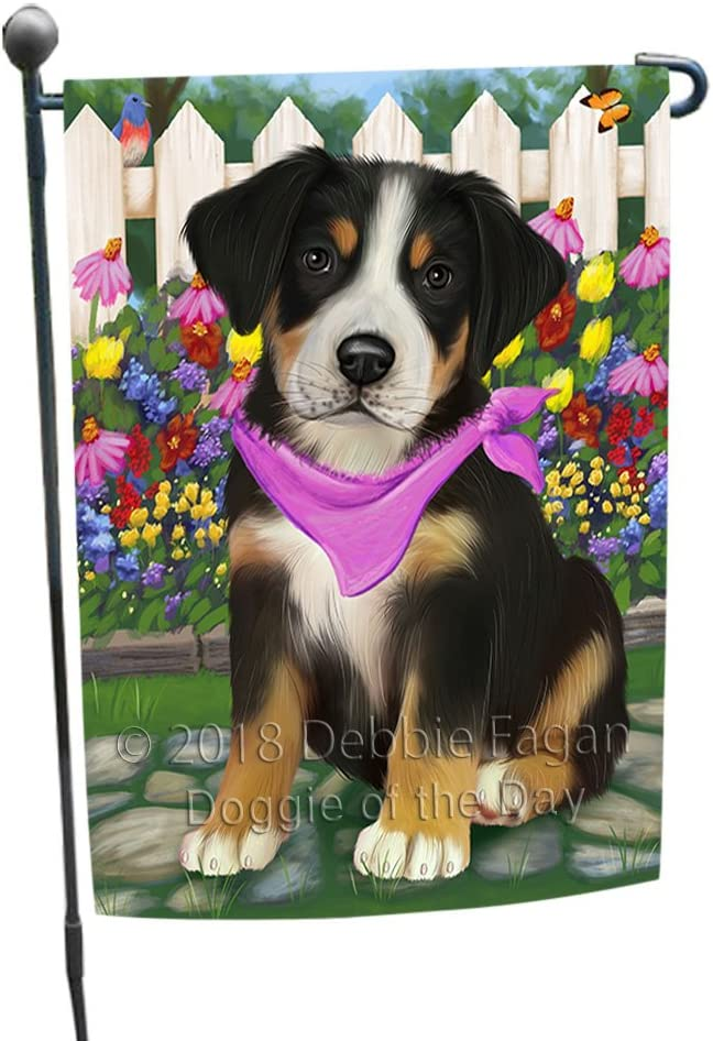 Doggie of the Day Spring Floral Greater Swiss Mountain Dog Garden Flag GFLG52207
