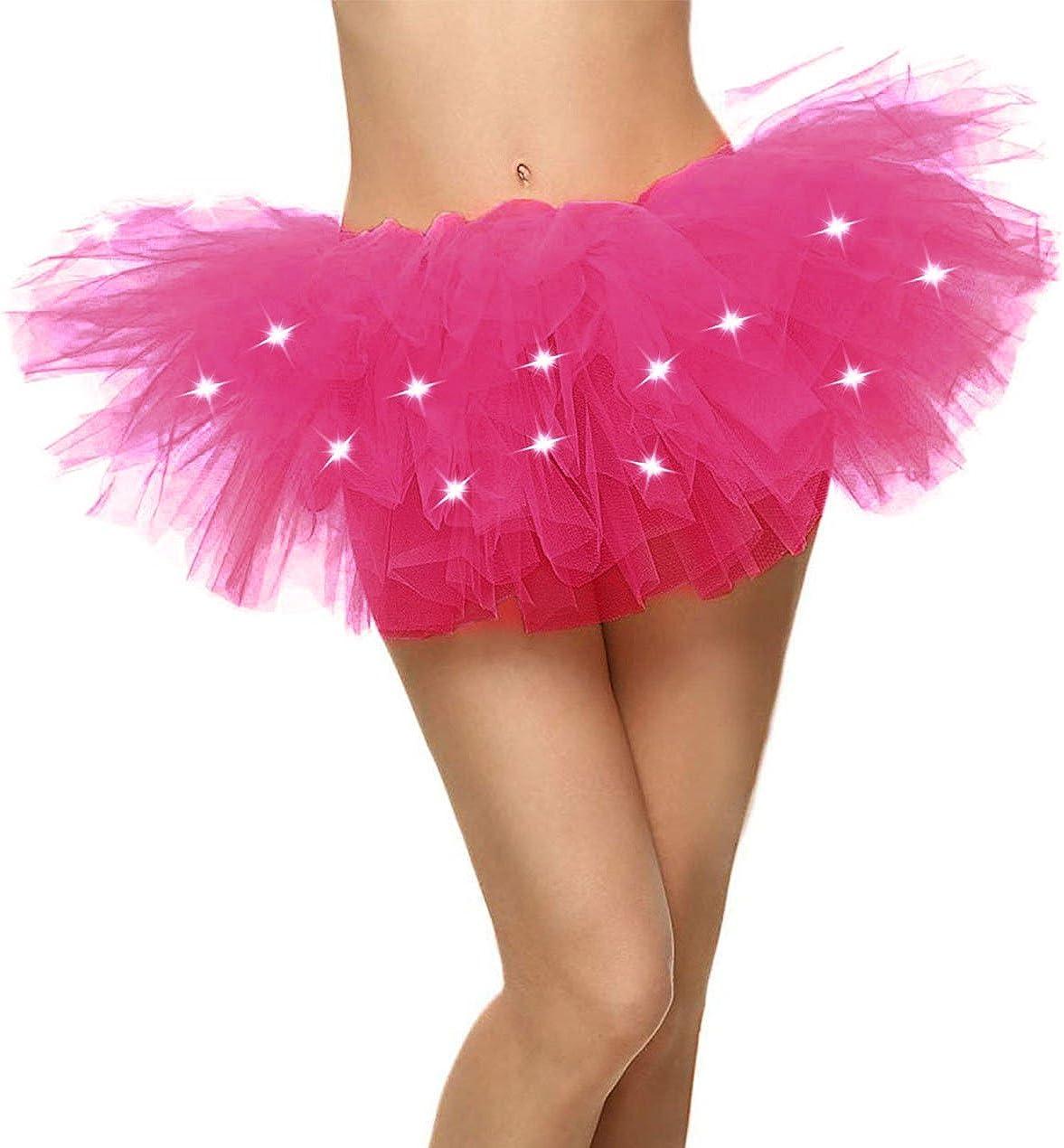 Women's LED Light Up Neon Tulle Tutu Skirt