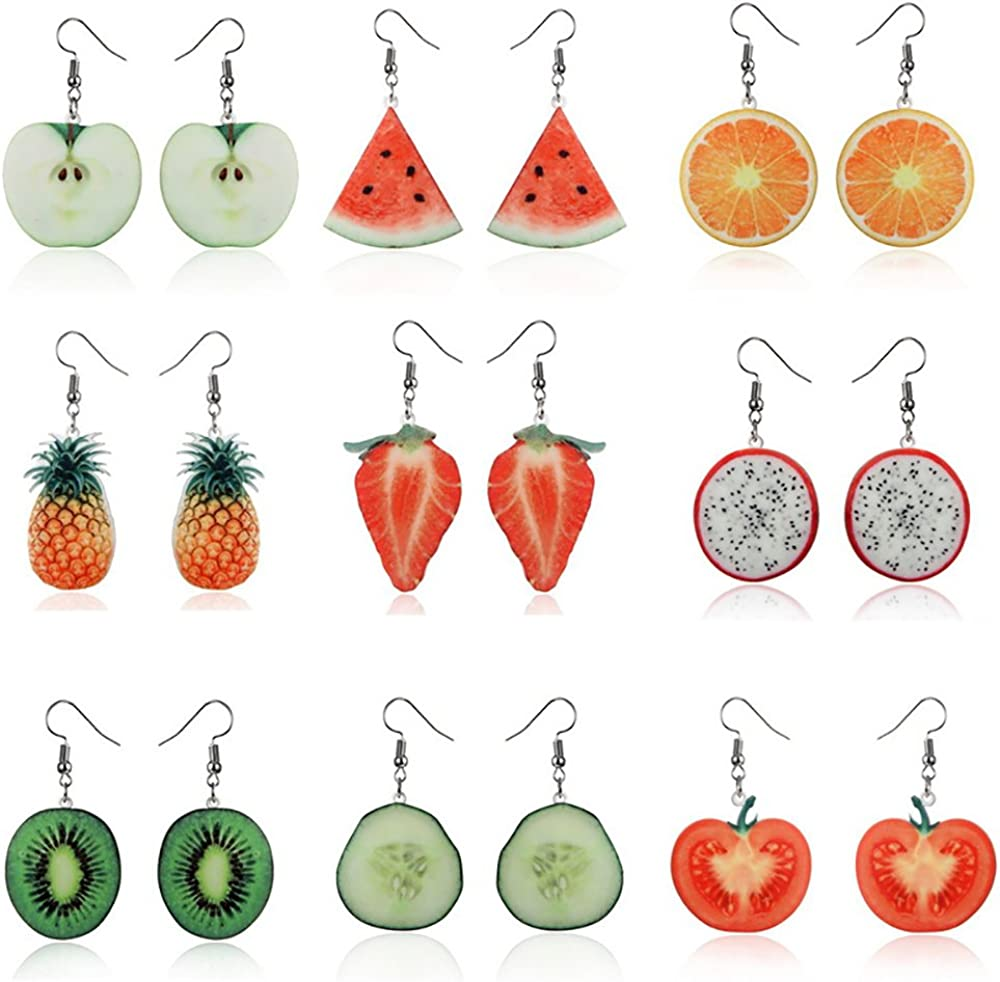 VEINTI+1 Trendy Statement Creative Funny Lifelike Fruits Acrylic Earrings for Women/Girl's