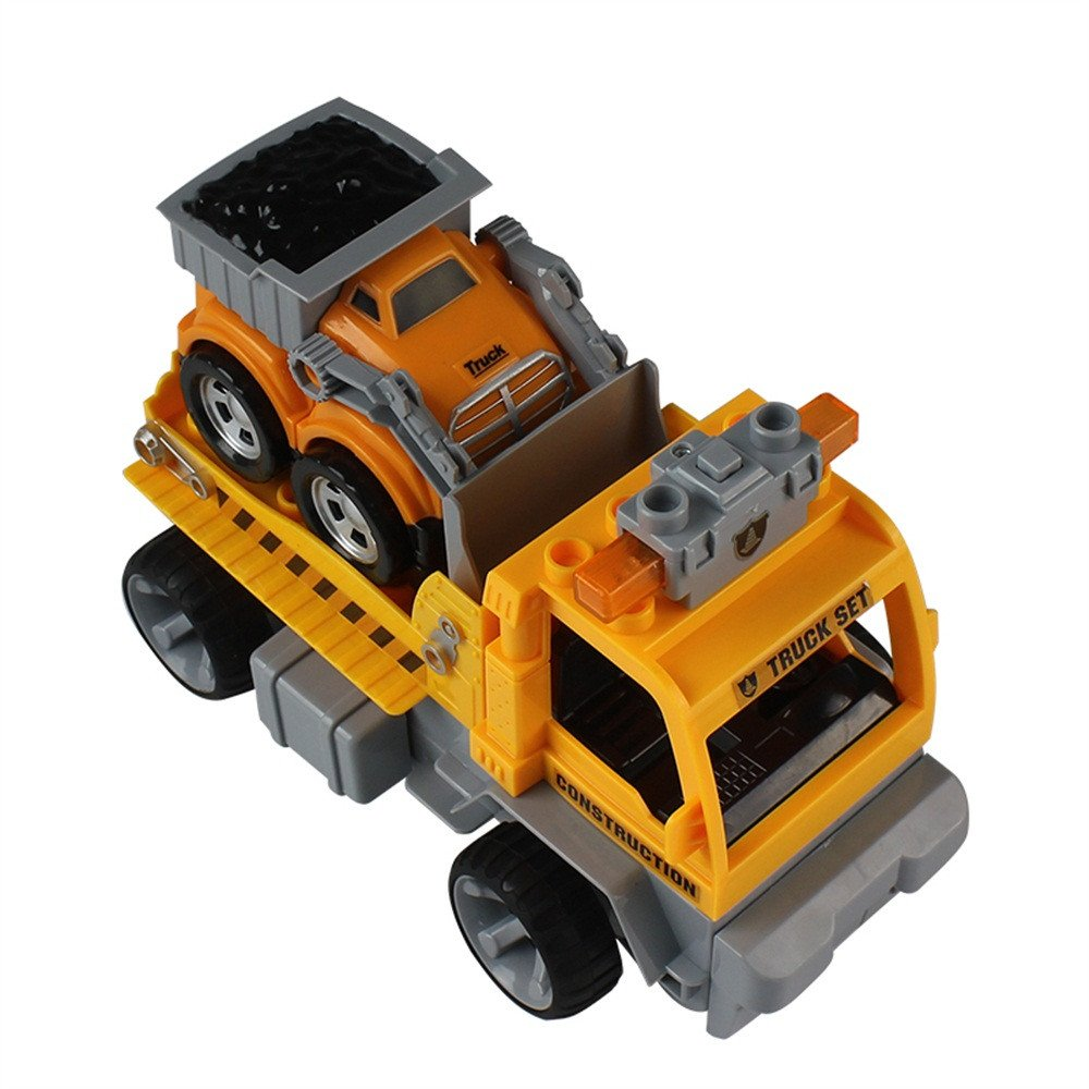 Gbell 1:18 Car Large Building Block RC Trailer,3D Vehicle Puzzle Educational Toy for Kids Boys 8+ (Yellow) by Gbell (Image #4)