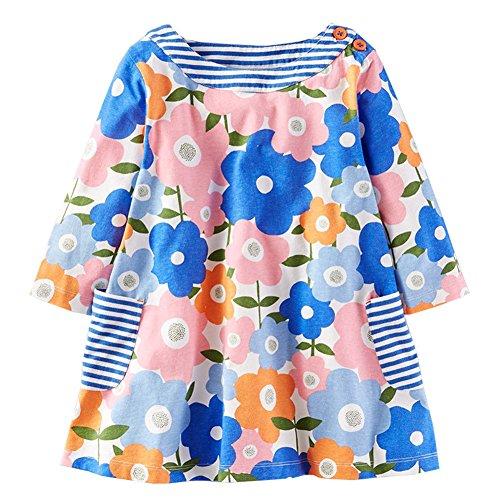 HILEELANG Toddler Little Kid Girl Long Sleeve Flower Halloween Cotton Casual Dress Legging -