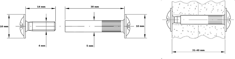 viti di collegamento per mobili con manicotto in acciaio nichelato Hexaton 50 pezzi M4 x 26-35 mm