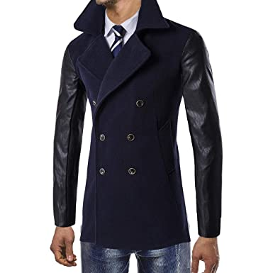 Fanxing Herren Mäntel Trench Jacke Winter Graben Lange Outwear Button Smart  Mantel  Amazon.de  Bekleidung adbd14481a