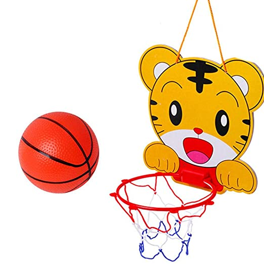 AOLVO - Mini aro de Baloncesto para Colgar en Interiores, Juego de Baloncesto con Soporte de Pared y balón de Baloncesto y Bomba, Juego de Pelota de ...