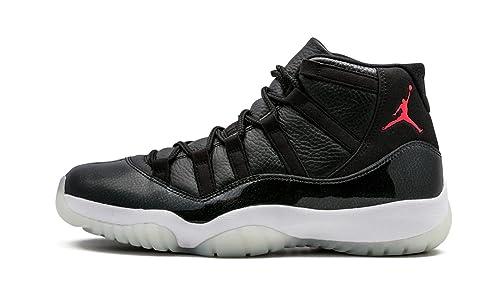 Nike Jordan 11 Mens Air Rétro 72-10 Noir / Gymnase Cuir Anthracite Rouge-blanc
