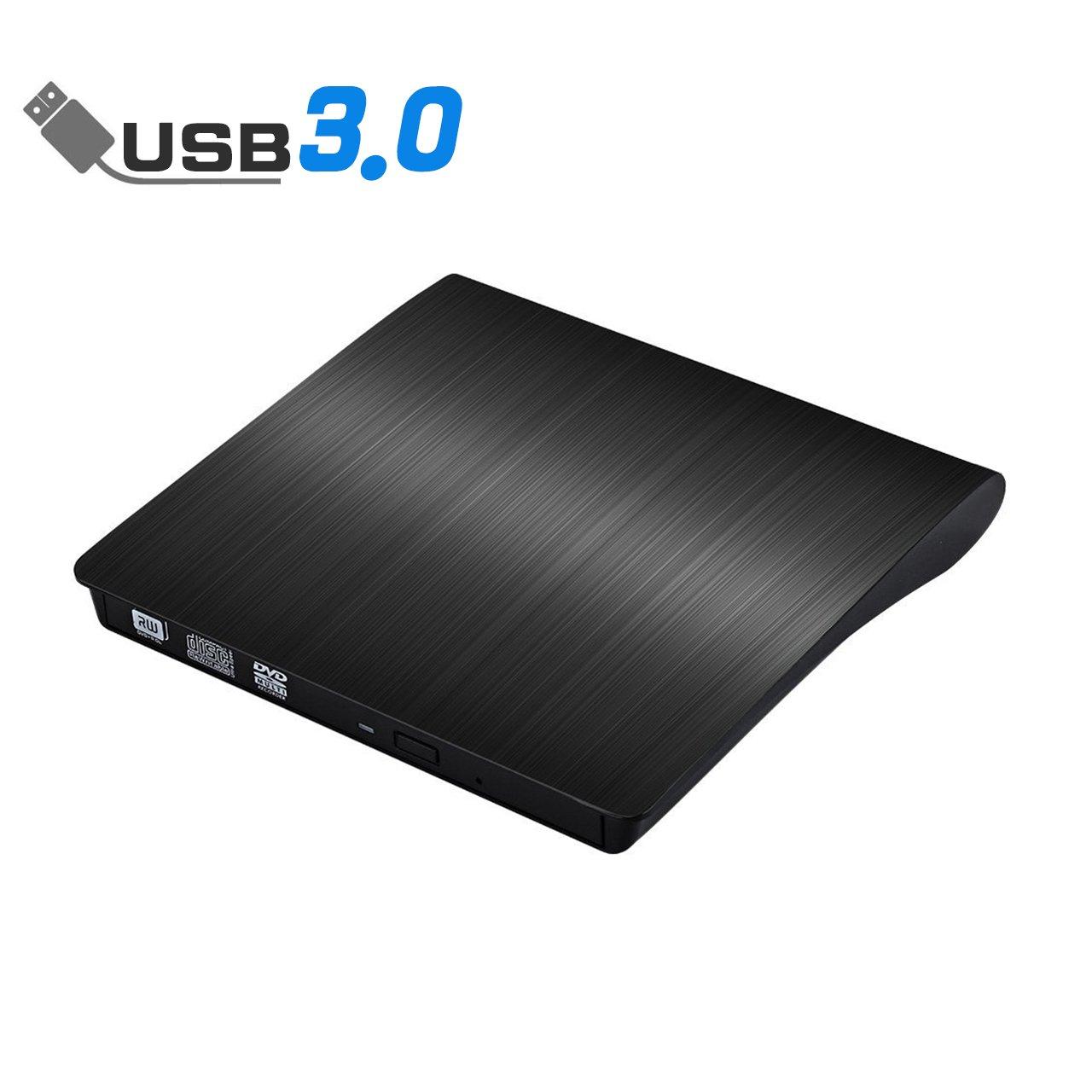External CD Drive, Acetend USB 3.0 External DVD CD Drive, Burner High Speed Data Transfer USB dvd Player for Laptop Notebook PC Desktops Support Windows/Vista/7/8.1/10, Mac OSX and Linux OS (black)