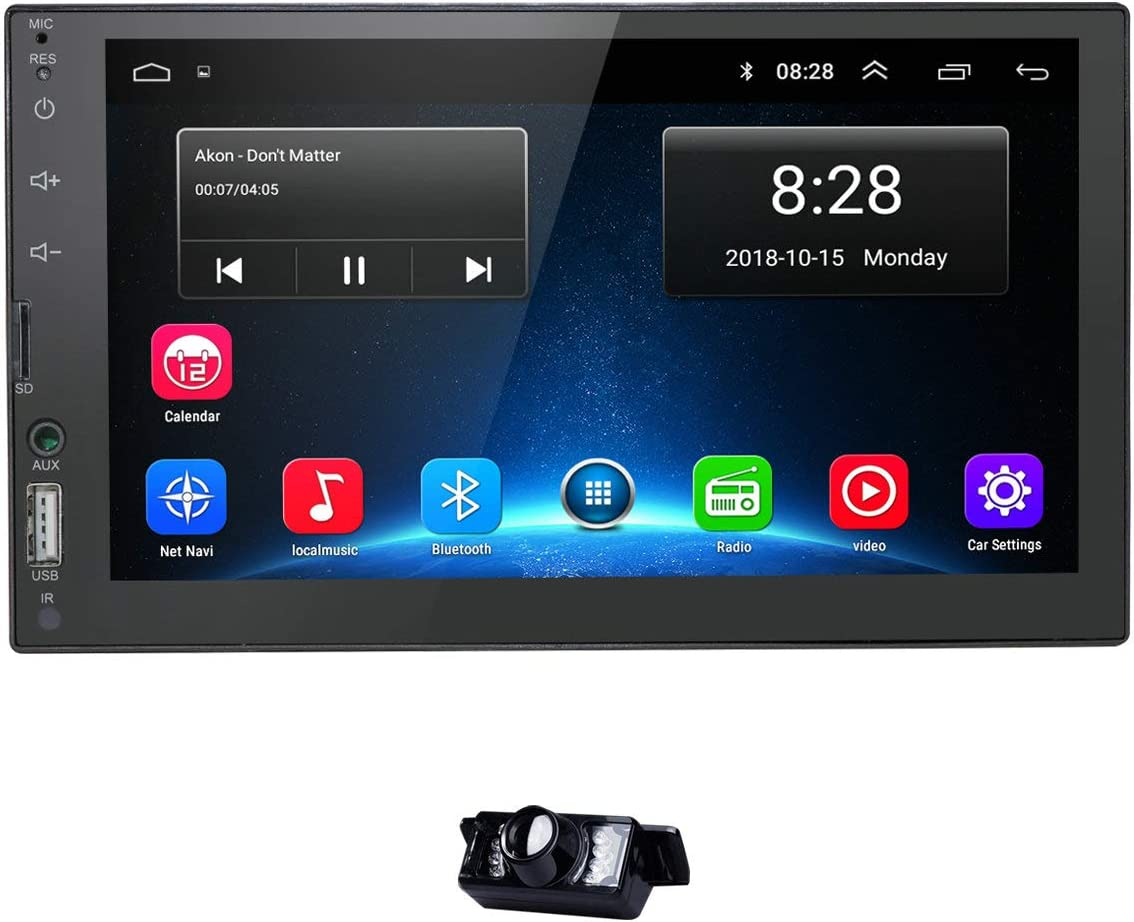 Car GPS Navigation Stereo - Double Din Android 9.0 Head Unit with Bluetooth 7 inch LCD Touch Screen 1G + 16G Support FM Radio/WiFi/GPS Navigation with Free Backup Camera