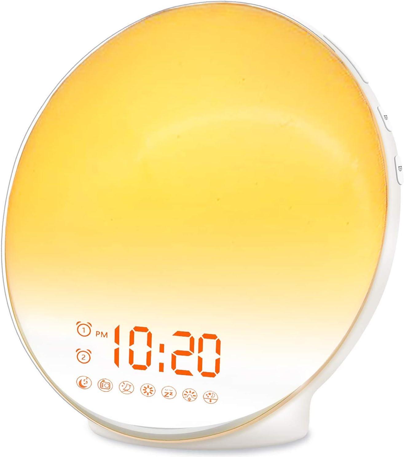 JALL 7Colors,7Natural Sounds Wake Up Light Sunrise Alarm $34 Coupon
