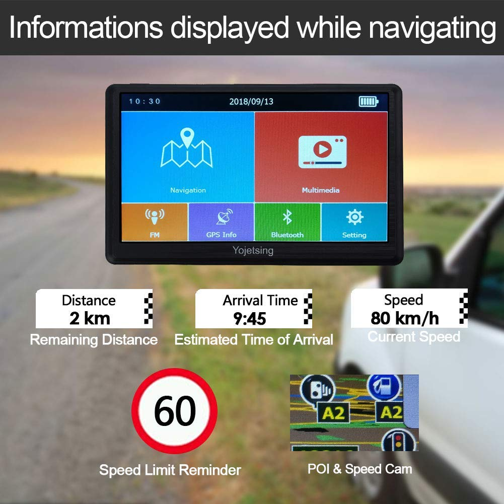 5 inch 8GB 256MB Car Truck Lorry Capacitive Touch Screen Satellite Navigator Device Pre-loaded UK//EU 2019 Newest Maps with Lifetime Free Updates YoJetSing Sat Nav Navigation GPS System