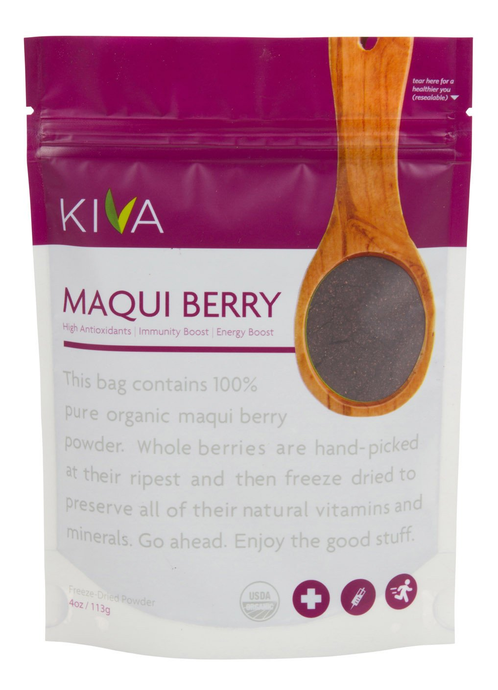 Kiva Organic Maqui Berry Powder - Non-GMO, Raw, Vegan, 4-Ounce Pouch