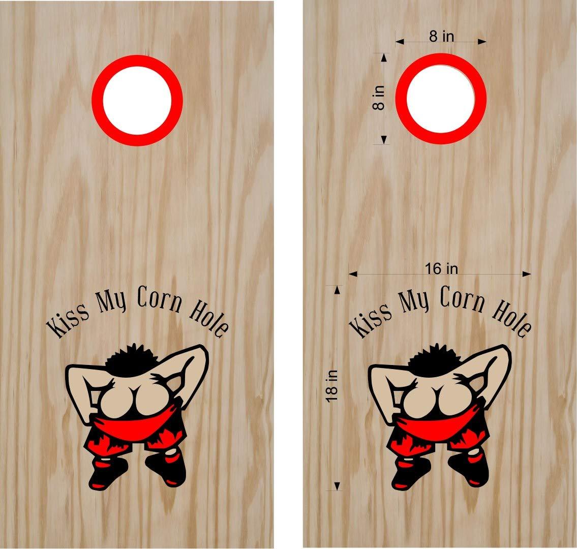 Kiss My Cornhole ボードデカールステッカー、両方のボードに十分な大きさ。 B07JD82Q6F