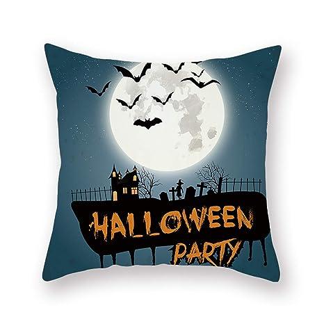 JUNMAONO Funda Cojines 45x45 cm Halloween Pillow Cover ...