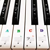 Piano Keyboard Stickers for 88/61/54/49/37 Key, Bold Large Letter Piano Stickers for Learning, Removable Piano Keyboard Lette